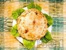 Рецепта Баница със свинско филе, шунка, сушени домати и замразен грах